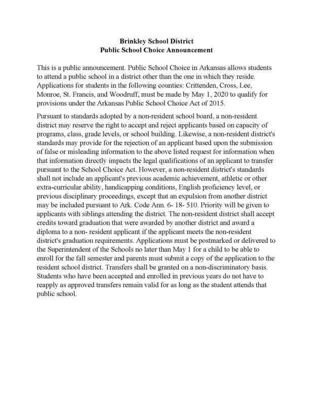 Public School Choice Announcement