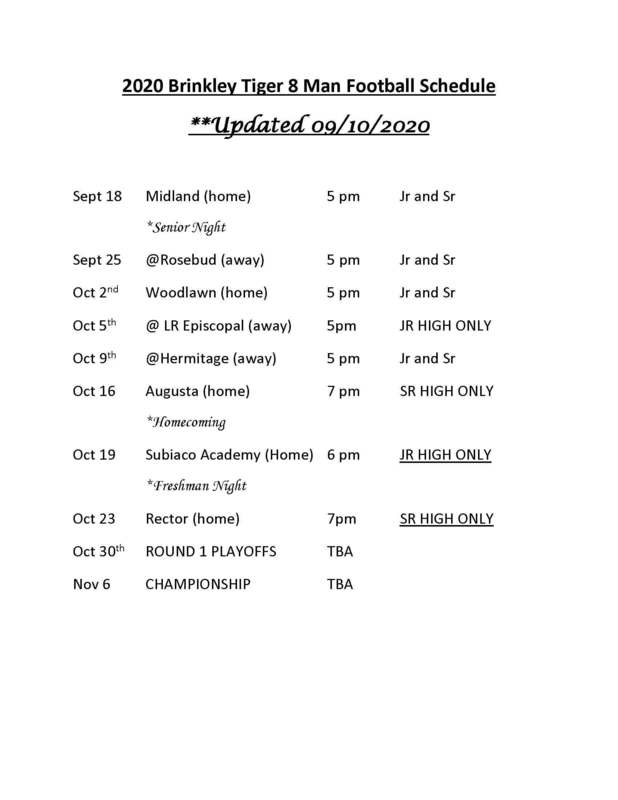 2020 Brinkley Tiger 8 Man Football Schedule