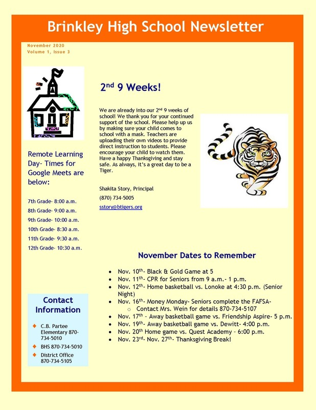 BHS  Principal Newsletter for November