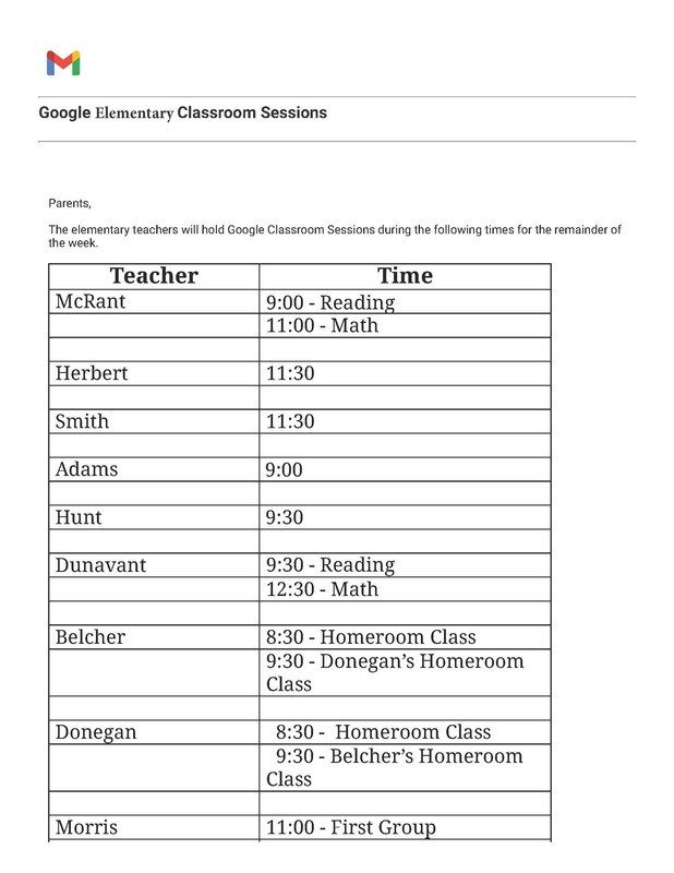 Google Elementary Classroom Sessions
